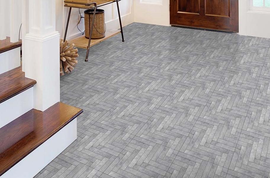 Herringbone Patterned Floor: Stone Flex Tiles- Mosaic Collection